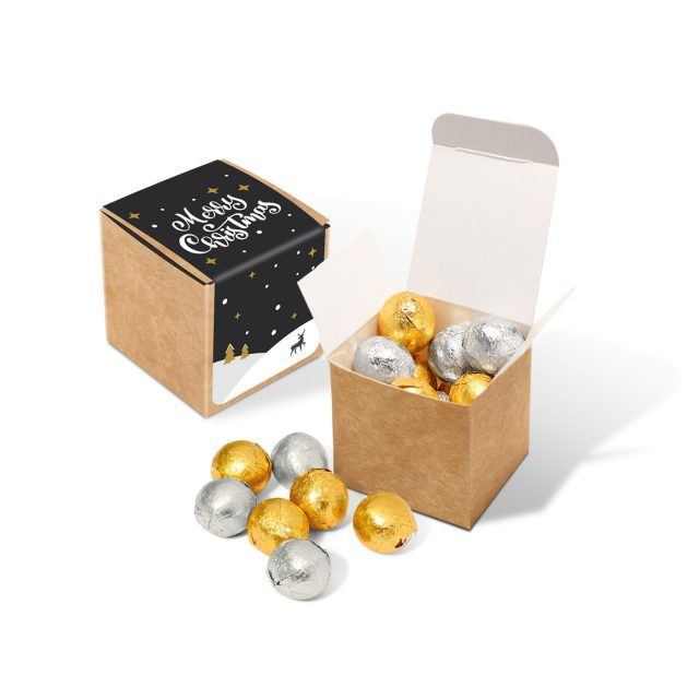 Winter Collection 2020 – Eco Kraft Cube – Foiled Chocolate Balls
